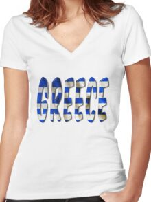 Greece Word With Flag Texture Women's Fitted V-Neck T-Shirt