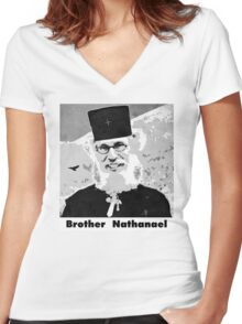 Brother Nathanael with Title Women's Fitted V-Neck T-Shirt