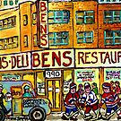 BEN'S DELICATESSEN VANISHED MONTREAL WINTER STREET HOCKEY SCENE by Carole  Spandau