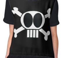 Cartoon Pirate skull & cross bones Chiffon Top