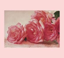 Rosy Elegance - Digital Watercolor  One Piece - Short Sleeve