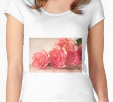 Rosy Elegance - Digital Watercolor  Women's Fitted Scoop T-Shirt