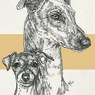 Greyhound Father & Son by BarbBarcikKeith