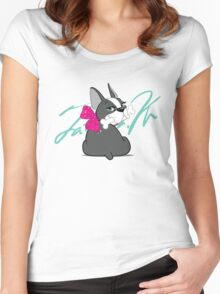 "French Bulldog ""Cherry"" with a signature   Women's Fitted Scoop T-Shirt"