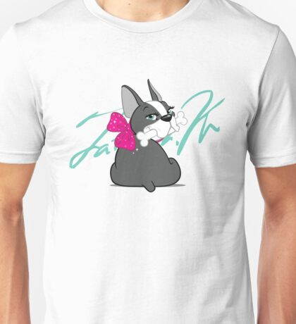"French Bulldog ""Cherry"" with a signature   Unisex T-Shirt"