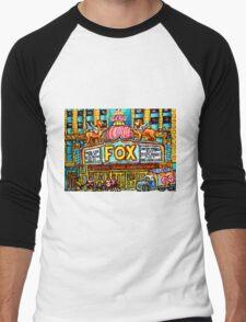 FOX THEATRE IN DETROIT WITH STREET HOCKEY Men's Baseball ¾ T-Shirt