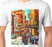 OLD MONTREAL WINTER STREETS  Unisex T-Shirt