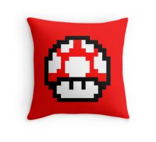 Mario Bros pixel mushroom Throw Pillow