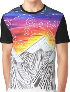 Three Mountain Sunset - Indie Watercolor Design Graphic T-Shirt