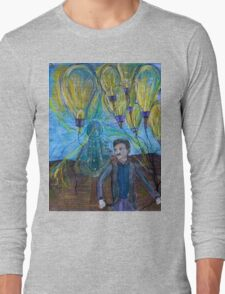 Nikola Tesla Freeing the light bulb balloons T-Shirt