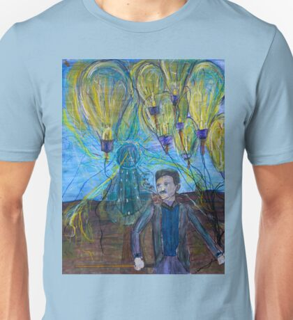 Nikola Tesla Freeing the light bulb balloons Unisex T-Shirt
