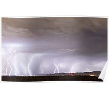 Lightning Thunderstorm Extreme Weather Over Golden Colorado Poster