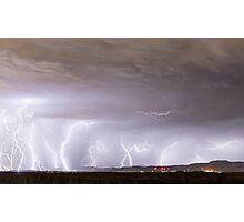 Lightning Thunderstorm Extreme Weather Over Golden Colorado Photographic Print