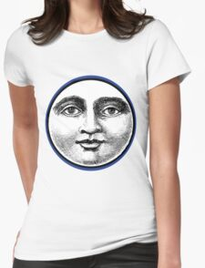 MOON FACE:  BLUE Womens Fitted T-Shirt
