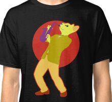Sax Cat Beneath a Red Moon Classic T-Shirt