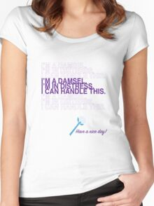 I'm a damsel. I'm in distress. I can handle this. Women's Fitted Scoop T-Shirt