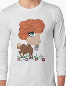 Crying Horse Woman Long Sleeve T-Shirt