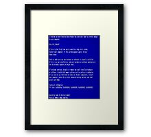 Blue Screen of Death Framed Print