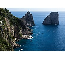 Limestone Cliffs and Seastacks - a Capri Island Vacation Photographic Print