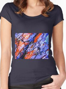 Red and blue Women's Fitted Scoop T-Shirt