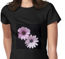Two Pink Cape Daisies on Black Background Womens Fitted T-Shirt
