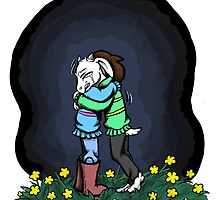 I don't want to let go. (Asriel & Frisk) by Gwen Olson