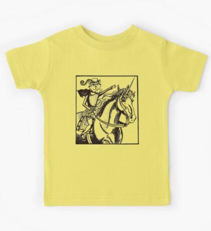 renaissance cat rides a unicorn Kids Tee