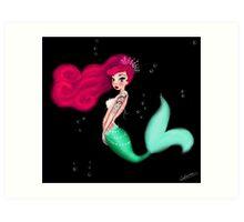 Die kleine Rockabilly Meerjungfrau Art Print