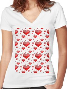 Hearts Red and White Women's Fitted V-Neck T-Shirt