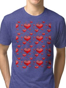 Hearts Red and White Tri-blend T-Shirt