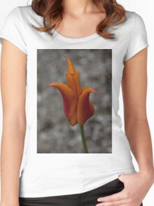 A Flamboyant Flame Tulip in a Pebble Garden Women's Fitted Scoop T-Shirt