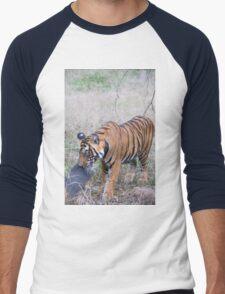 Young Bengal Tiger Prowling Men's Baseball ¾ T-Shirt