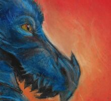 Blue asian dragon with red background and yellow eyes  Sticker