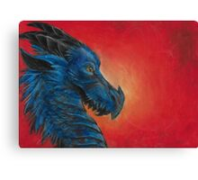 Blue asian dragon with red background and yellow eyes  Canvas Print