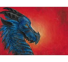 Blue asian dragon with red background and yellow eyes  Photographic Print
