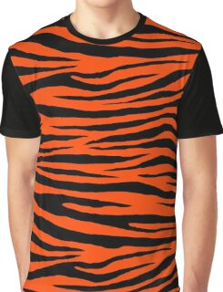 0474 Orange Red Tiger Graphic T-Shirt
