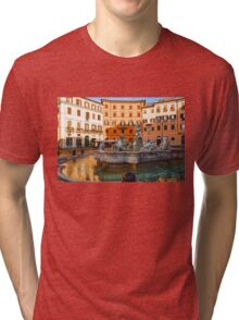 Neptune Fountain on Piazza Navona - Impressions Of Rome Tri-blend T-Shirt