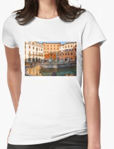 Neptune Fountain on Piazza Navona - Impressions Of Rome Womens Fitted T-Shirt
