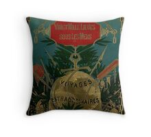 Jules Verne Extraordinary Voyages Throw Pillow