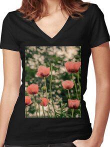 Pink Poppy in late everning light Women's Fitted V-Neck T-Shirt