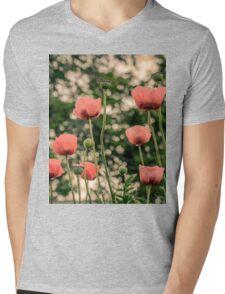 Pink Poppy in late everning light Mens V-Neck T-Shirt