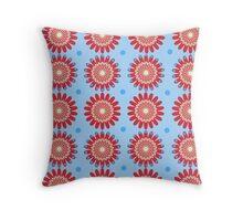 Zinnias - Blue - Digital Art Throw Pillow
