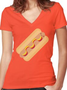 Confused Ketchup Hotdog Women's Fitted V-Neck T-Shirt