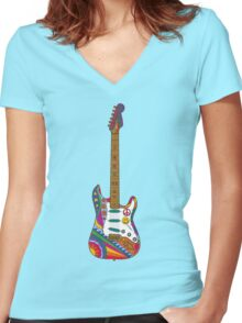 Psychedelic Guitar Women's Fitted V-Neck T-Shirt