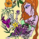 Young Woman In The Flowers Yellow by Fiona Lokot