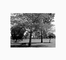 Black and white trees with park bench Unisex T-Shirt