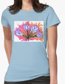 Crocus Flowers Painting 3 Womens Fitted T-Shirt