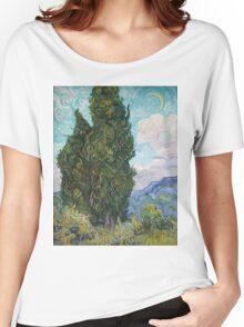 Vincent Van Gogh - Cypresses .  Van Gogh - Cypresses  Women's Relaxed Fit T-Shirt