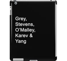 Greys Anatomy Original Character Surnames iPad Case/Skin
