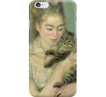 Renoir Auguste - Woman With A Cat iPhone Case/Skin